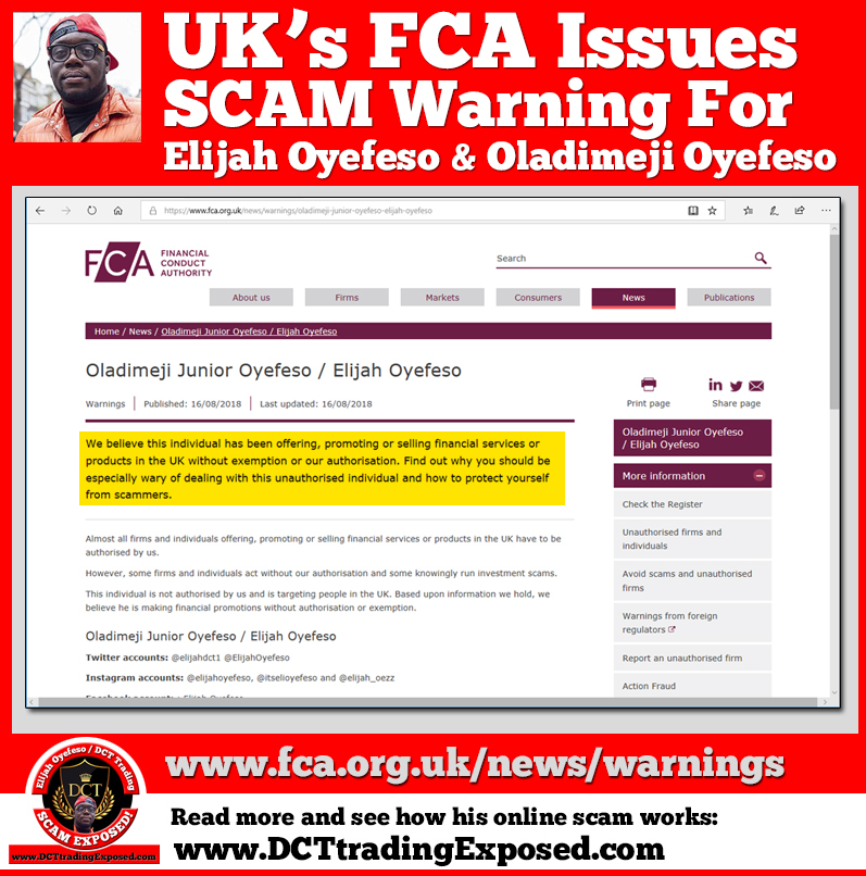 FCA issues scam warning about Elijah Oyefeso DCT Trading