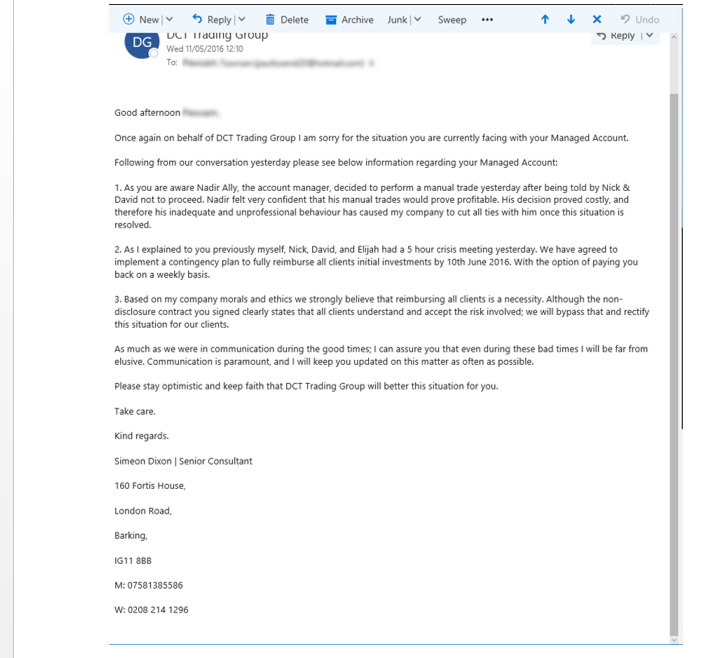 Email to clients from DCT Trading by Simeon Dixon.